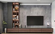 Modern apartments - interior design by VYMIR Design Living Room Wall Units, Living Room Tv Unit Designs, Home Living Room, Tv Wall Unit Designs, Bedroom Tv Unit Design, Tv Unit Bedroom, Bedroom Tv Wall, Tv Wall Design, Sofa Design
