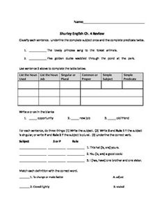 Printables Shurley English Worksheets test review for third grade shurley english ch 3 grammar this is a i added key the teachers that made