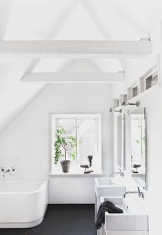 Light-filled black and white bath.