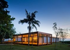 """Architecture: Fazenda Boa Vista Golf Clubhouse by Isay Weinfeld: """"..the Fazenda Boa Vista Golf Clubhouse by Brazilian architect Isay Weinfeld, which was named World's Best Sport Building at the World Architecture Festival this week..Located 100 kilometres from São Paulo, Brazil, the two-storey clubhouse serves two 18-hole courses at the Fazenda Boa Vista leisure complex..Concrete encases the lower floor of the building, which is sunken into the sloping landscape, while the upper floor…"""