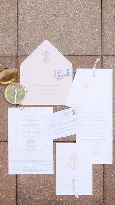 Loving theses nautical invitations, Romantic Blush Yacht Club Wedding via TheELD.com | Hunter Ryan Photo