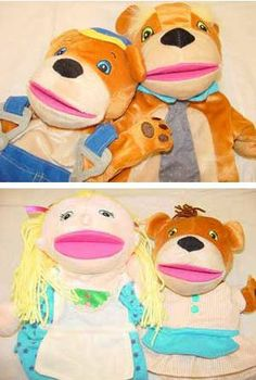 Three Bears Story Puppets (4 pieces) -- (1*.7) Goldilocks puppet, Papa Bear puppet, Mama Bear puppet and Baby Bear puppet