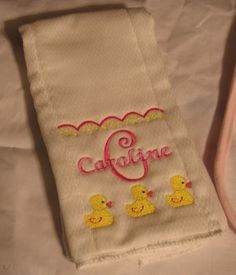 Set of 3 Personalized Baby Burp Cloths
