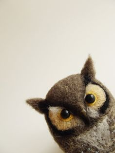 Horned Owl, Hand Felted Bird, Forest Animal, Brown Owl /MADE TO ORDER