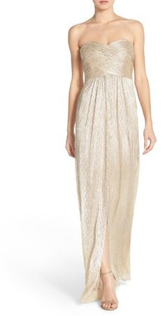 Laundry by Shelli Segal Shirred Metallic Strapless Gown