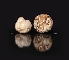 An unusual ivory ball with zodiacs, Japan, around 1900. Carved ivory. Massive ball, the surface with dense relief of the 12 Chinese zodiacs. Sign. 'Tama ..'. Diam. 7 cm.