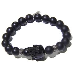 Diamond Onyx Bead Jet Skull Men S Bracelet