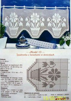 filet curtain by celeste Filet Crochet Charts, Crochet Borders, Crochet Cross, Thread Crochet, Crochet Curtain Pattern, Crochet Curtains, Tapestry Crochet, Crochet Doilies, Crochet Edgings