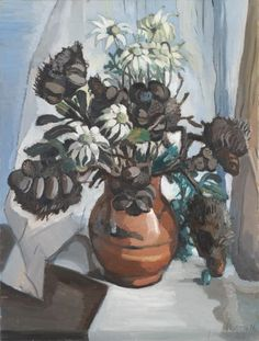 Banksia and Flannel Flowers, Margaret Preston, NGV Australian Painting, Australian Artists, Margaret Preston, Flannel Flower, Botanical Art, Gouache, Flower Art, Printmaking, Contemporary Art