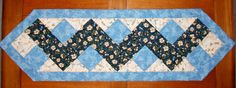 Quilted Table Runner Blue ZigZag by FoothillsStitchery on Etsy