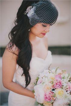 curled wedding hair | birdcage veil | red lipstick | bridal look | #weddingchicks