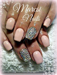 Nude nail with diamond stone