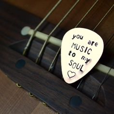 "Custom Copper Guitar Pick - ""you are MUSIC to my SOUL"". $14.00, via Etsy."