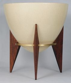 Cream Fiberglass Bullet Planter With Wood And Anodized Aluminum Base