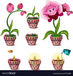 Buy Stages of Growth of Magical Pink Flower with Face by Lady-Luck on GraphicRiver. Stages of growth of magical pink flower with face. Seven consecutive pictures. Vector image in cartoon style. Cartoon Flowers, Cartoon Styles, Game Art, Adobe Illustrator, Pink Flowers, Design Art, Pattern Design, Vector Free, Invitations