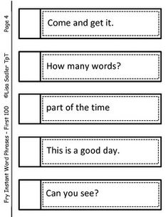 Fry Instant Word Phrases FIRST 600 WORDS - uniquely formatted to best fit your needs.  You can use this product to create: flashcard rings, phrase strips for creating games or a fluency book.
