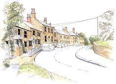 Thorner in West Yorkshire ~ sketch ~ John Edwards Watercolor Painting Techniques, Pen And Watercolor, Architect Sketchbook, Marilyn Monroe Painting, Sketching Techniques, City Sketch, Pen And Wash, John Edwards, Travel Sketchbook