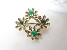 Gold and green flower flower brooch vintage brooch by AlbertsAttic