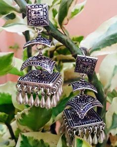 Gold And Silver Earrings Product Indian Jewelry Earrings, Silver Jewellery Indian, Jewelry Design Earrings, Silver Necklaces, Silver Jewelry, Silver Ring, Silver Earrings, Fabric Earrings, Earrings Online