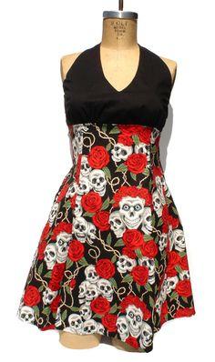 Rockabilly Pin up Dress / Pinup / Skulls and Roses Tattoo Art Dress / Rockabilly Inspired Girl Dress.