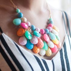Handmade Mixed Color Beaded Statement Necklace