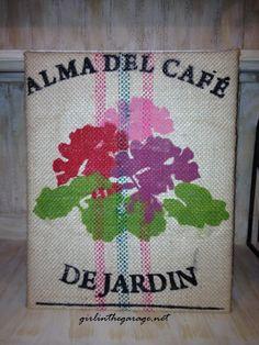 Use burlap coffee bags as wall art