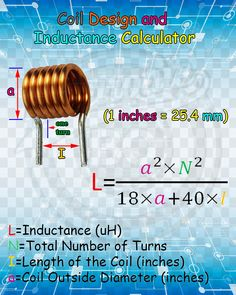 Coil Design and Inductance Calculator. - Electric & Electronic Coil Design and Inductance Calculator. Electronics Mini Projects, Hobby Electronics, Electrical Projects, Electronics Components, Electrical Components, Electronics Gadgets, Electronic Circuit Design, Electronic Engineering, Electrical Engineering