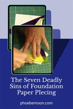 Foundation piecing is the technique of sewing fabric to a foundation in order to achieve very precise results. The foundation can be fabric and left in place, or it can be paper to be removed later. This article explores the different methods of FPP and warns you about the sins you might commit. (Yes, I am kidding.) #scrapdash Paper Piecing Patterns, Quilt Block Patterns, Pattern Blocks, Quilt Blocks, Quilting Projects, Craft Projects, Foundation Paper Piecing, Seven Deadly Sins, Sewing Projects For Beginners