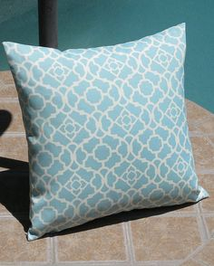 Outdoor Light Blue Lattice Throw Pillow Cover by PillowPeels, $14.95
