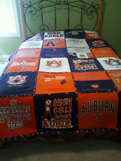 Auburn Tiger t-shirt quilt ~ Check this out too ~ RollTideWarEagle.com for great sports stories that inform and entertain. #Auburn #WarEagle