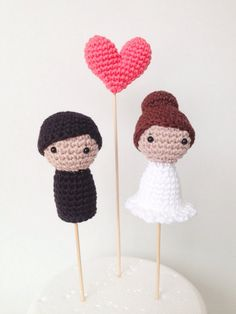 Knitted Together! These cute crochet cake toppers are handmade in Madrid, Spain, and are easily shipped wordlwide for your special day.