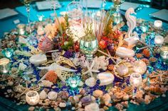 Seashell Centerpiece for an Under the Sea Bat Mitzvah Ariel Under The Sea, Mermaid Under The Sea, Under The Sea Party, Bar Mitzvah Party, Bat Mitzvah, Girl 2nd Birthday, Birthday Ideas, Seashell Centerpieces, Sweet 16 Themes