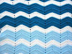 Vintage Afghan Chevron Zig Zag  Lap Blanket in Pale  by KimBuilt, $15.75