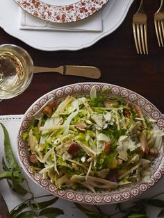 Shaved Brussels Sprout-and-Chestnut Salad  - for thm leave out the apples, and add in some unsweetened dried cranberries! for an S! CountryLiving.com