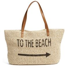 Straw Studios 'Conversation' Straw Tote ($48) ❤ liked on Polyvore featuring bags, handbags, tote bags, bolsas, beach, straw purses, hand bags, beach tote, tote purses and handbags purses