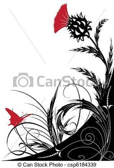 """""""Vector EPS vector art"""" Inspo: style direction for red thistle brambles."""