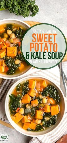 This Sweet Potato Kale Soup is easy cozy and healthy These steamy bowls of vegetables chickpeas and flavorful broth wont last long at your table. Kale Soup Recipes, Vegetarian Recipes, Cooking Recipes, Healthy Recipes, Vegetarian Dinners, Vegetarian Kale Recipes, Easy Kale Recipes, Vegetarian Sandwiches, Chowders