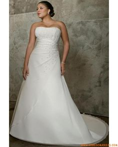 Robe de mariée grande taille Empire perles