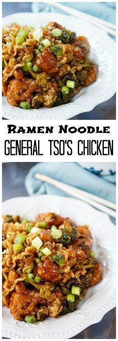 Ramen Noodles General Tso& Chicken: Crispy chicken smothered in a thick and savory General Tso's Chicken sauce and tossed with broccoli and Ramen Noodles! Tso Chicken, Crispy Chicken, Chicken Sauce, Asian Chicken, Mexican Chicken, Ramen Noodle Recipes, Ramen Noodles, Chicken Noodles, Zuchinni Noodles