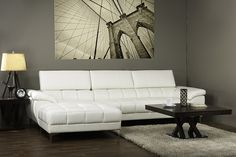 WholeSale Interiors Baxton Studio Sosegado White Leather Sectional Sofa with Left Facing Chaise
