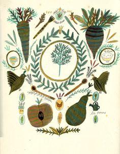 Katt Frank - beautiful illustrations. Illustration for the recipe book 'Four'.