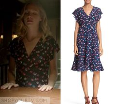 """Caroline Forbes (Candice Accola) wears this blue short sleeve midi floral dress in this episode of The Vampire Diaries, """"You've Made a Choice to be Good"""". It is the Rebecca Taylor 'Sakura' V-Neck Floral Silk Fit & Flare Dress. Buy it HERE Vampire Diaries Fashion, Vampire Diaries Seasons, Violet Dresses, Candice Accola, Caroline Forbes, Season 8, Floral Midi Dress, Rebecca Taylor"""