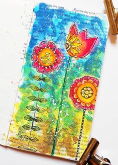Susanne Rose Designs: Art Journal Page with Distress Oxides and Inktense Pencils