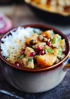 Morroccan Butternut Chicken Curry with Pomegranate