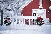 little red house, snow covered fence