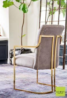 Scout Label Comal Dining Chair: Brass with Pewter Grey Velvet Upholstery