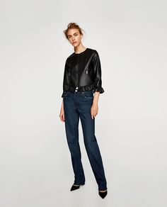 20728b15142 Image 1 of LEATHER EFFECT FRILLED JACKET from Zara Frill Jackets