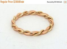 ON SALE Wedding Band Solid 14K Gold, Rose & Yellow Gold Twist Ring,Valentine's Day Ring,Solid 14K Gold, Anniversary Gift Wedding Bands Twis by LIRANSHANI on Etsy