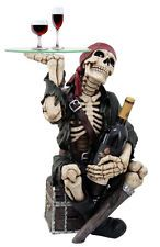SKELETON PIRATE WAITER BOAT PARTY SIDE TABLE WINE HOLDER FURNITURE GLASS TOP