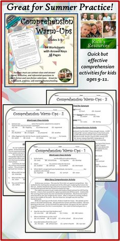 These 24 comprehension activities are designed to reinforce comprehension skills for those in grades 3-5. The targeted grade level is 4, but depending upon the student skill level, they can be used in lower or higher grades. The activities are great for homework, extra practice, review, homeschooling, self-starting. Answer keys are included. $